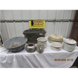 8 Items - Copper Boiler, Granite Bread Bowl, Enamel Ware & Aluminum Ware - Vintage