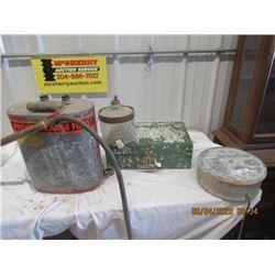 Fire Back Pack Sprayer, Kerosene Jug, Wood Case, Egg Washer- Vintage