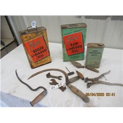 12 Items - 2 Linseed Oil Tins, Rawleigh Tin, Hand Sickle, Hay Hook, 2 Wrenches, Tattoo Instruments,