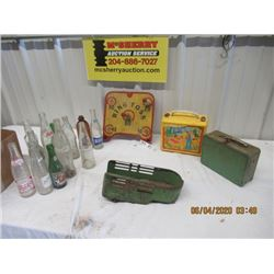 Plastic Barbie Lunch Kit, Metal Lunch Kit, Wood RIng Toss Game, Pressed Metal Semi Trailer Toy, 12 P