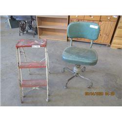 2 Items - Swivel Office Chair, Folding Metal Stepper- Vintage