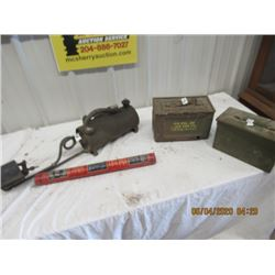 4 Items - 2 Military Ammo Boxes, Liberty Fire Extinguisher, Flame Torche - Vintage