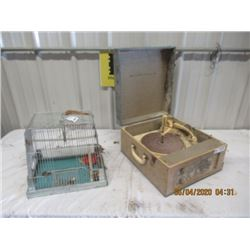 2 Items - Bird Cage -Symphonic Record Player Vintage