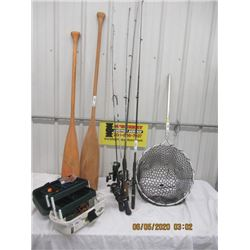 9 Items- 2 Paddles - Fishing Box w Tackle, 5 Fishing Rods & Reels , Fishing Scoop Net