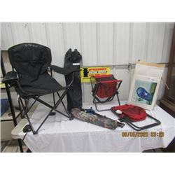7 Items, 6 Folding Yard Chairs & Stools & Woods Sleeping Blanket