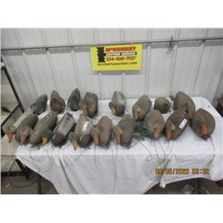 17 Items - 13 Floating Duck Decoys, 4 Floating Diving Duck Decoys