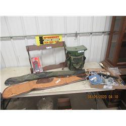 20 Plus Items - Wood Open Gun Rack, Hunting Seat 2 Soft Gun Cases, New Berkley 50LB Digital Fish Sca
