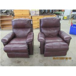 2 Burgundy Leather Recliners- Modern