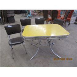 Retro Chrome Legged Table w Nice Bright Yellow Top & 4 Chrome Legged Chairs - Vintage