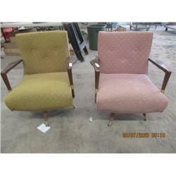 2 Retro Upholstered Swivel Rocker LR Chairs Vintage