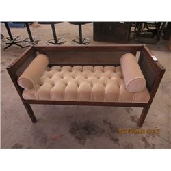"""Cane Back Upholstered Hall Seat 44"""" W"""