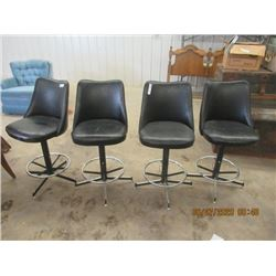 4 Matching Swivel Leather Bar Stools