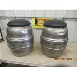 2 Alum Keg Stools - Vintage