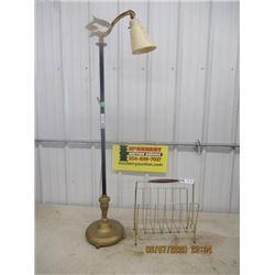 Retro Bridge Lamp & Magazine Rack - Vintage