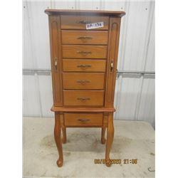 """Oak Jewellery Cabinet 39""""x16""""x11"""" - Modern"""