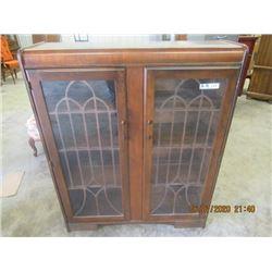 "Walnut 2 Door China Cabinet- Vintage 48"" x 39"" x 12"""