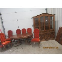 8 Pc Sklar Peppler Oak Dining Room Suite- 1- Buffet China Cabinet, Table w Leaves, 6 Chairs (2 Capta