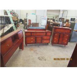 3 Pc Bedroom Suite- Vintage Dresser w Mirror, Highboy Dresser & Headboard