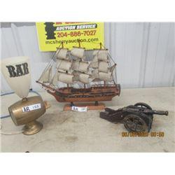 3 Items - Mantle Ship, Bar Barrel Light, Cannon Ornament
