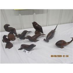 7 Wood Carved Ornaments