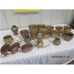 20 Items - Brass Planters, Few Copper Ones, & Waterers