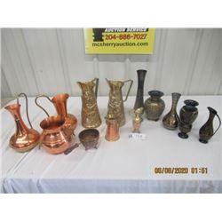 14 Items Copper & Brass Vases & Jugs