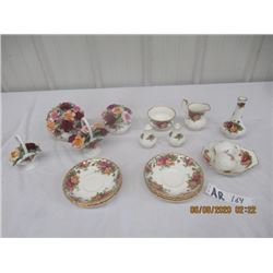 18 Items - Royal Albert Old Country Roses, 4) Floral Pcs, S & P, C & S, 6 Plates , Vases & more