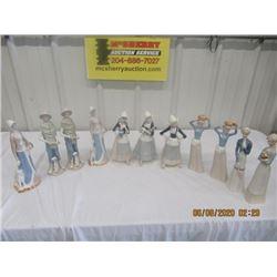 "11 China Figurines 10"" to 12"" Tall"