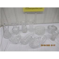 10 pcs - Crystal - Vases, Bowls, Servers, Covered Bowl, & Jug