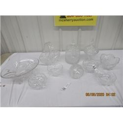 10 Pcs Crystal - Bridal Basket, Covered Dishes Footed Bowls, & More