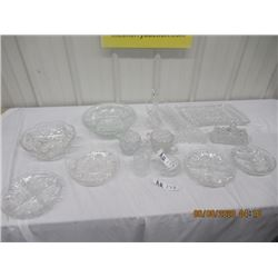 16 Pcs Crystal - C & S , Serving Trays, Bowls, Napkin Holders, Covered Butter Dish & More!