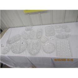 17 Pcs Crystal - Trays, C & S , Dishes, Ashtrays & More!