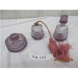 3 Pc Purple Perfume Set - Vintage