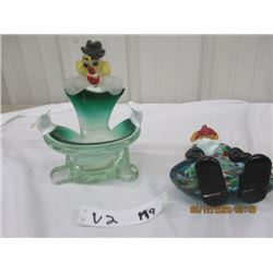 Blown Glass Clown - Dish & Ashtray - Vint