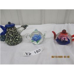 3 Morona Style Tea Pots Paper Weights - Vintage