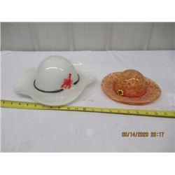 """2 Blown Glass Hat Ornaments- 1) 12"""" Round 1) 8"""" Round - Vintage"""