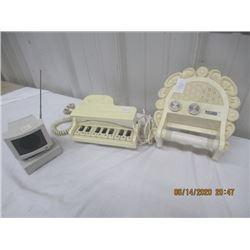 "3 Items - Computer Transistor Radio,  ""Futura"" Toliet Paper Roll Transistor Radio, ""Cateo"" Piano Tel"