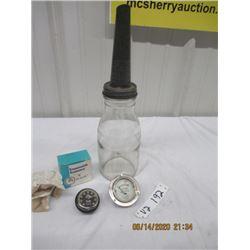 3 Pcs - Eco Oil Jar , De Forest Crosley Radio Voltage Indicator, Westclox Snowmobile Gague - New Old