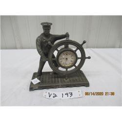 "Vintage Waterbury Clock Co, Metal Sailor Mantle Clock Patent Date 1892 - 8"" x 7"" x 3"""