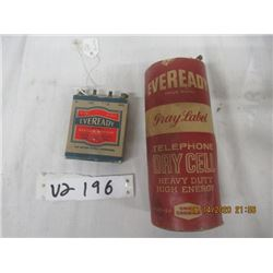 2 Items - Eveready Dry Cell Batteries- Vintage