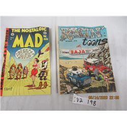 2 Pcs - Mad Comic Edition #2, 1970 Racin Toons Edition #1 - Vintage