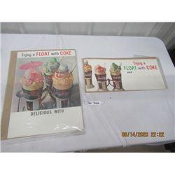 "70's Paper Coca COla Advertising 1) 20"" x 14"" 1) 9"" x 20"" - Vintage"