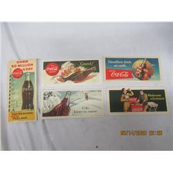 """5 Pcs - Coca Cola Bloaters- 1) 1942 1) 1947 1) 1953, 1) 1956, 1) 1960, 7.5"""" x 3.5""""- Vintage"""
