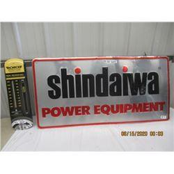 "2 Items Shindaiwa Equip Sign - Metal Embossed 24"" x 48"" & Monroe Metal Thermometer 24"" x 7"" - Modern"