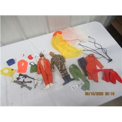 G.I. Joe Figurines, 4 Extra Outfits, w 12 Accessories, Parachute, 4 Guns & More - Vintage