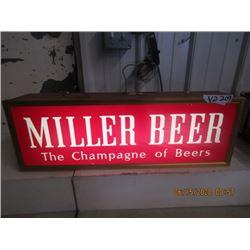 """Light Up Miller Beer Sign - Vintage 9.5"""" x 27"""" x 4"""""""