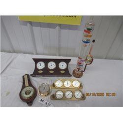 6 Items- Barometer & Clocks - Modern & Vintage