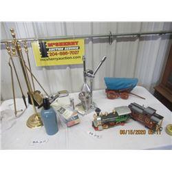 Bar items, Ice Crusher, Drink Shaker, Fireplace Set, Train & Chuckwagon Display - Modern & Vintage