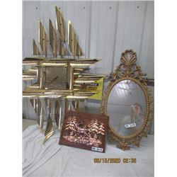 3 Items - Brass Clock, Ornate Framed Mirror Copper Elk