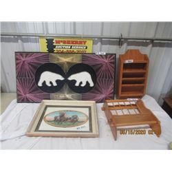 4 Items - Polar Bear String Art, Buffalo Pic, 2 Wooden Shelves